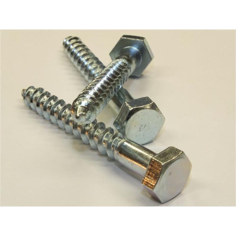 100x Schlüsselschrauben DIN 571  8 x 60 Stahl verzinkt Sechskant Holzschrauben