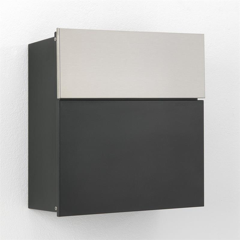 Albert Edelstahl Briefkasten HS-006 1 Edelstahlklappe, Korpus & Tür RAL 7016