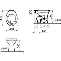 Vitra Stand WC Flachspüler Abgang innen senkrecht Standflachspüler weiß mit WC-Sitz