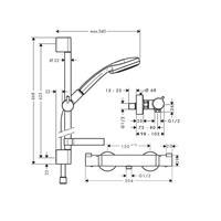 Hansgrohe Hans Grohe Croma 100 Brausenkombi Thermostat 90cm chrom 27085000