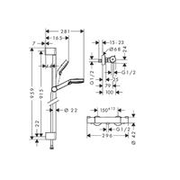 Hansgrohe Hans Grohe Ecostat Crometta Thermostat mit Stange Kombi 27813400 chrom