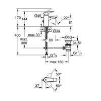 Grohe BauFlow Waschtischmischer Einhebelmischer Armatur S-Size chrom 23751000
