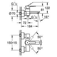 Grohe Lineare Wannenmischer Wannenbatterie Aufputz Armatur chrom Nr. 33849001