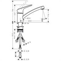 Hansgrohe Hans Grohe Logis Spültischmischer Küchenarmatur Armatur 71831000 Niederdruck