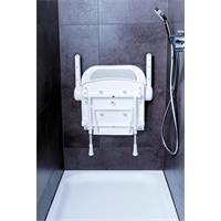 Duschklappsitz Duschsitz mit Rückenlehnen CE-Kennzeichnung weiß 140380 grau