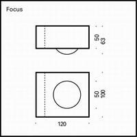 Top Light Focus 100 Wandleuchte Linse/Glas chrom