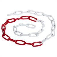 Metall Absperrkette rot-weiß 6 mm, 15 Meter, feuerverzinkt u. beschichet