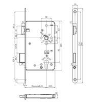 BKS Haustür-Einsteckschloss DIN L Dorn 65mm Entf. 92mm VK 10mm Stulp 20mm