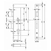 BKS Rohrrahmenschloss 72mm Dornmaß 25-40mm Nuß 8mm 24x3x243 DIN R+L
