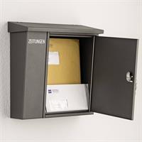 Heibi Briefkasten Grafitgrau mit Zeitungsfach 43661-039