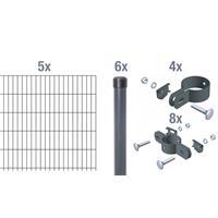 Doppelstab-Gittermatten-Grundset 1000mm, anthrazit 6/5/6, 2m, Rundpfosten