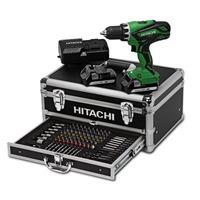 Hitachi Akku-Bohrschrauber DS 18DJL 2 x1,5 Ah im Alu-Koffer mit 100 tlg. Bit Sortiment