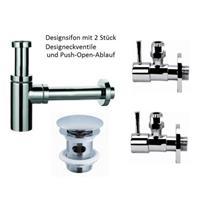 Waschtisch Design Anschluss Set Sifon + 2 Eckventile + Push Open Ablaufgarnitur