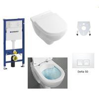 Geberit / Villeroy & Boch WC Set O.Novo Duofix Basic Deckel Absenkung softclose Delta 50 Platte di