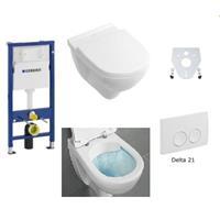 Geberit / Villeroy & Boch WC Set O.Novo Duofix Basic mit Deckel Absenkung softclose Delta 21 Platt