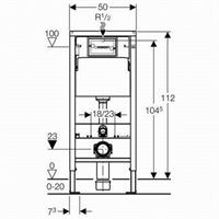 Geberit Duofix Basic WC Vorwandelement Betätigung Delta 51 mattchrom mit Schallschutz