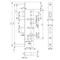 BKS Rohrrahmenschloss Dornmaß 25-45mm Nuß 8mm 24x3x270 Entfernung 92mm DIN R+L