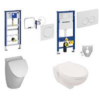 Geberit Urinal und WC Set Vorwandelement mit Deckel komplett und Zubehör weiß