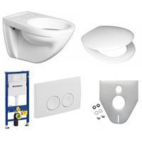 Keramag Wandflachspül WC Sitz Geberit Duofix Basic Delta 21 weiß Schallschutz Set weiß