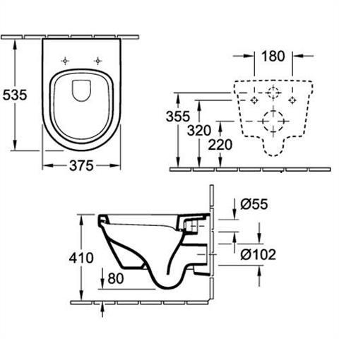 Villeroy & Boch Architectura Wandtiefspül-WC rund wasserrandlos inkl. WC-Sitz softclosing