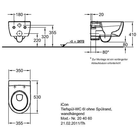 Keramag iCon Wandtiefspül-WC spülrandlos weiß/KeraTect Nr. 204060600