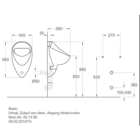 Keramag Basic Urinal Zulauf von oben weiß offene Form