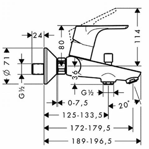 Hans Grohe Focus E2 Wannenmischer AP chrom Nr. 31940000