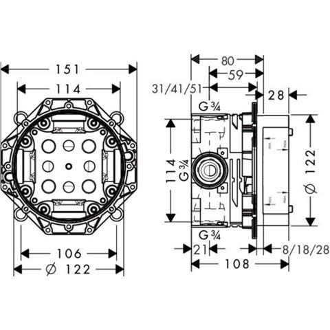 Hans Grohe iBox Universal Unterputz Einbaukörper Armatur Nr. 01800180