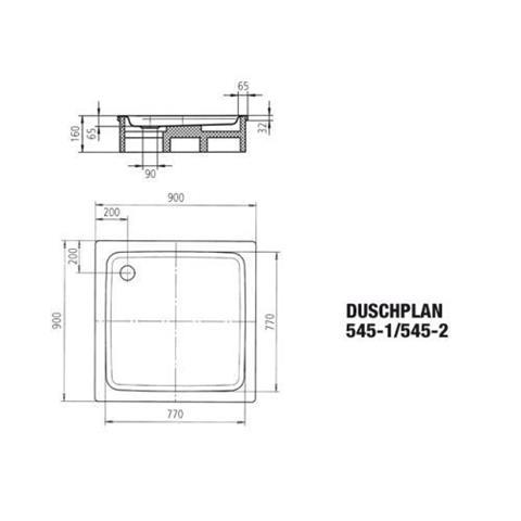 Kaldewei Stahl-Duschwanne 90 x 90 x 6,5cm weiß Nr. 545-1