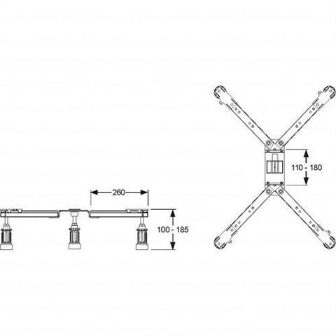 Mepa Duschwannenfüße für Stahl- und Acrylduschwannen BW 5 ADS Maxi Nr. 150130
