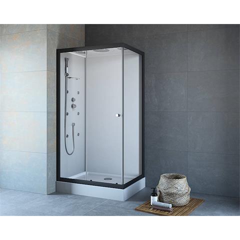 MAW fast Komplettdusche Dusche Fronteinstieg mit Seitenwand 80x110cm mit Armaturen