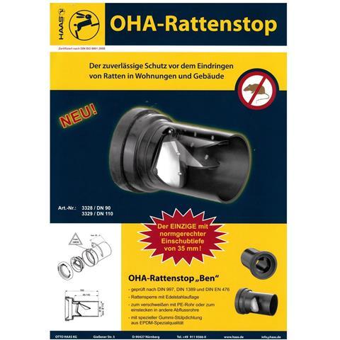 Haas Rattenstop Fremdeinspülstopp DN110 Nr. 3329