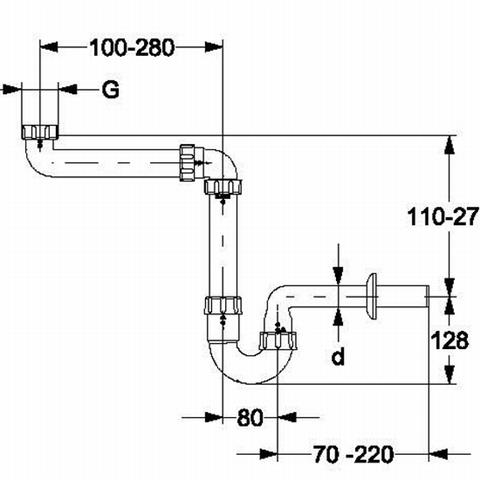 """Haas PVC-Raumspar-Waschtischsifon 1 1/4"""" x 32mm Nr. 4832"""