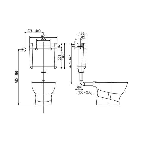 Pagette Ecotop Spülkasten Aufputz Kunststoff weiß 6-9 Liter wassersparend