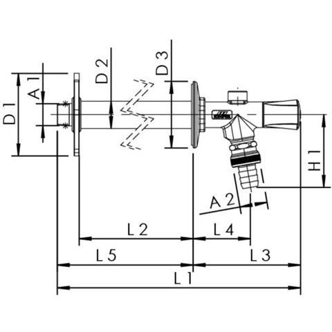 """Kemper FrostiPlus frostsichere Außenarmatur 1/2"""" x 435mm Nr. 57400"""