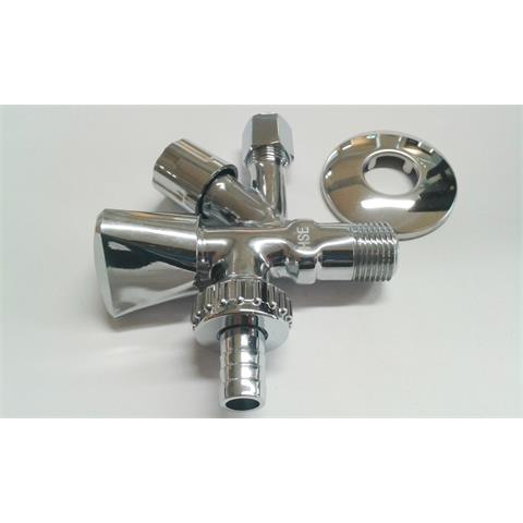 "HS Kombi-Eckventil 1/2""x10mm mit Rückflussverhinderer chrom Nr. 92600015"