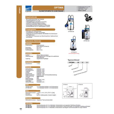 Ebara Optima Tauchmotorpumpe MA Nr. 1751104600
