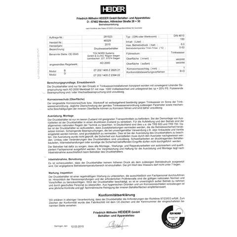 Heider Druckwasserkessel 500 Liter/6 bar Nr. 500304