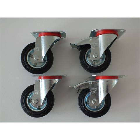 Lenkrollen, Transportrollen, Bockrollen, 4er-Set, 80, 100, 125 mm