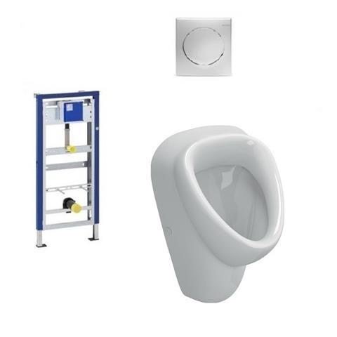 Geberit / Vitra Urinal Set Duofix Basic Vorwandelement HyBasic Handauslöser