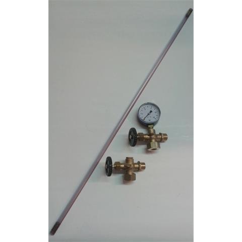 """Wasserstandsanzeiger 1/2"""" Set mit Schaurohr und Manometer für Druckwasserkessel"""