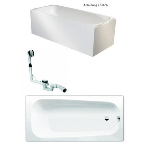 Kaldewei Badewanne 170x75cm Set mit Träger, Ablauf und Wannenanschlagprofil weiß
