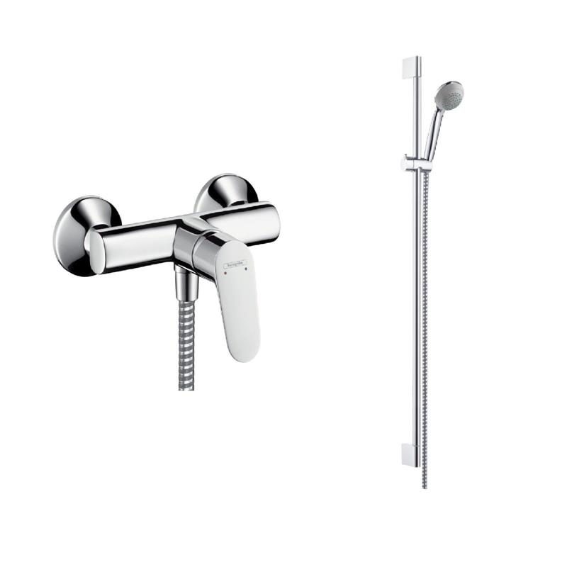 hansgrohe komplettset brause focus e2 crometta 85 brauseset chrom. Black Bedroom Furniture Sets. Home Design Ideas