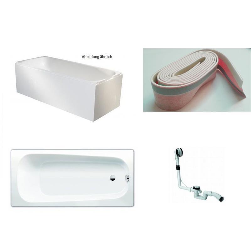 kaldewei 3 5mm stahl badewanne wanne set mit tr ger und ablauf 170x75cm wei. Black Bedroom Furniture Sets. Home Design Ideas